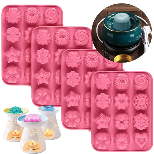 Palksky 4 Pack Silicone Wax Melt Molds
